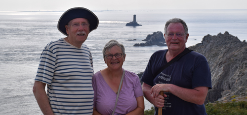 Rob Gibson, vice-president, Eleanor Scott, administrator, and Pierre Delignière, president, at La Pointe du Raz.