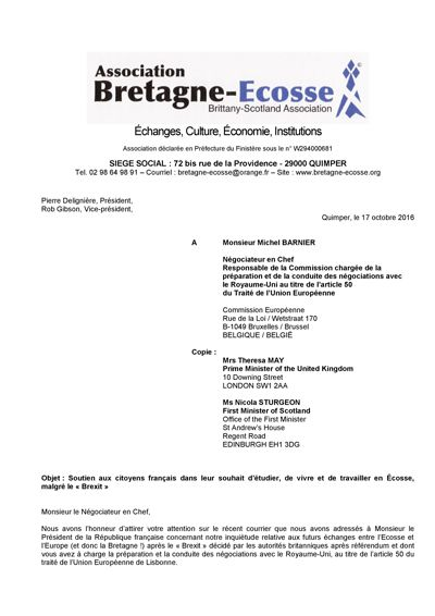 Page 1 of the Letter (in French) to Michel Barnier
