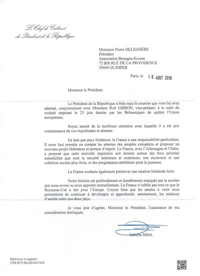 Answer of the cabinet of the president to open letter Bretagne-Ecosse